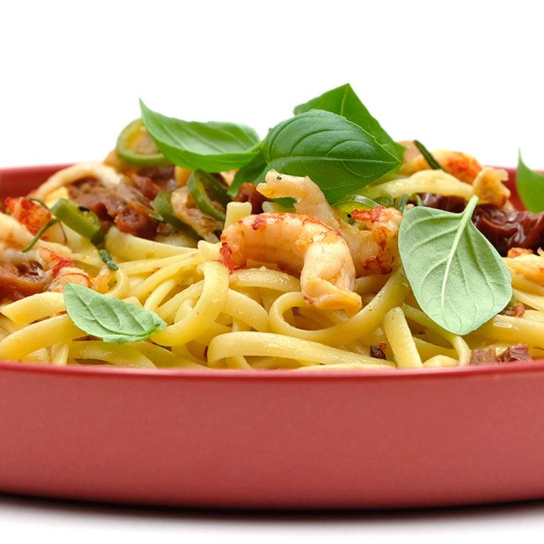 Rezept Linguine mit getrockneten Tomaten, Flusskrebsschwänzen und Rosmarin Popfood